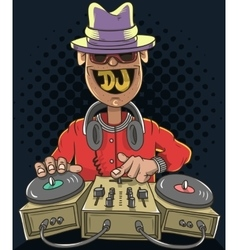Night Club Dj Playing Music On A Sound Mixer And vector image vector image