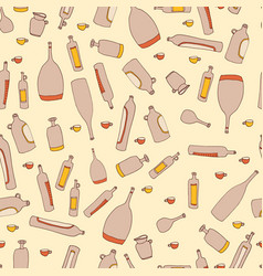wine bottles seamless pattern vector image vector image