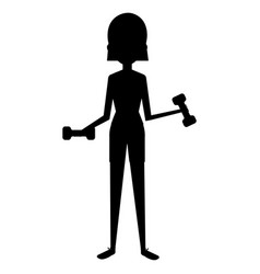 woman silhouette lifting weights character vector image