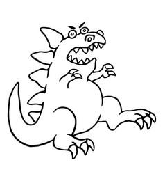 cartoon big angry dinosaur vector image vector image