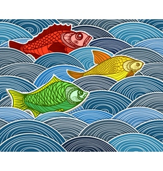 Group of fish on waves vector image vector image