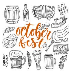 Beer october fest doodle icons set beer glasses vector