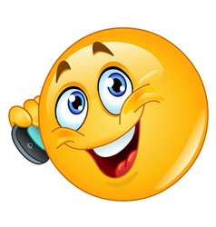 emoticon with cell phone vector image vector image