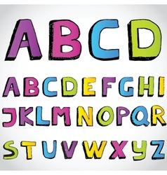 Grunge hand drawn alphabet vector image vector image