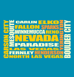 nevada state cities list vector image vector image
