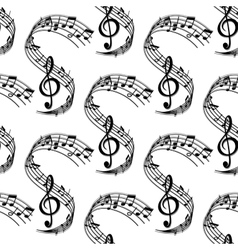 Wavy music stave seamless pattern vector image