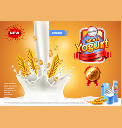 Yogurt ads pouring milk and cereals background vector