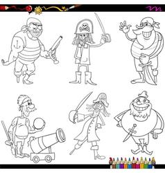 fantasy pirates cartoon coloring page vector image vector image