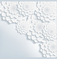 Greeting or invitation card with 3d flowers vector image