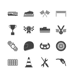 racing sport black icons set vector image
