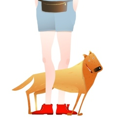 Smiling Red Dog Standing Near Feet of Man or Woman vector image vector image