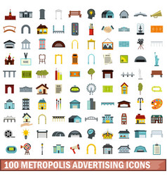 100 metropolis advertising icons set flat style vector