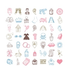 49 hand drawing doodle different icon set vector