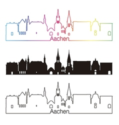 Aachen skyline linear style with rainbow vector