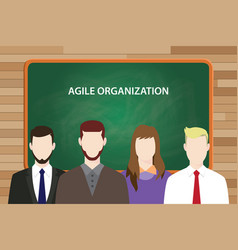 Agile organization white text on green chalk board vector