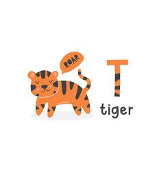 Alphabet letter t and tiger vector