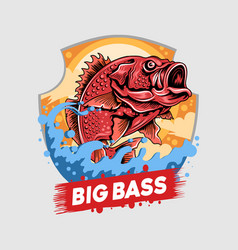 angler fish red snapper fisherman big bass artwork vector image