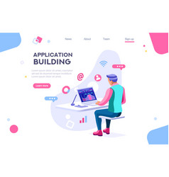 application build isometric character vector image