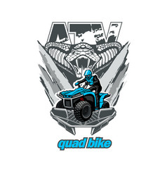 Atv quad bike logo emblem with snake isolated vector