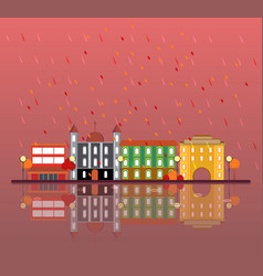 autumn urban city landscape concept vector image
