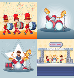 back to school desk banner set cartoon style vector image