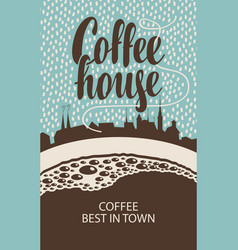 Banner for coffee house with cup and old town vector