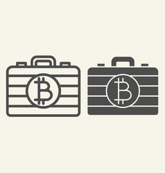Bitcoin case line and glyph icon portfolio with vector