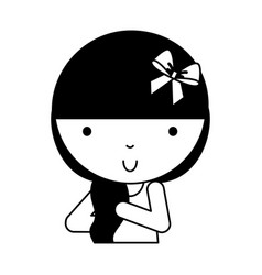 black icon cute little girl cartoon vector image
