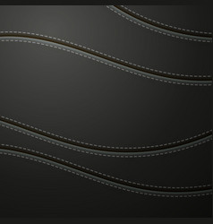 Black leather with stitch background vector