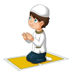 Boy cartoon praying vector
