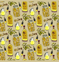 Bright olives seamless pattern olives branch oil vector