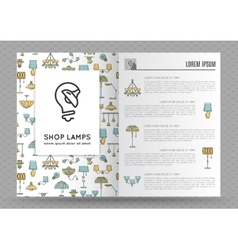 Brochure for shop lamps lamp icon vector