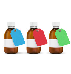 brown plastic bottles with colored paper tags vector image
