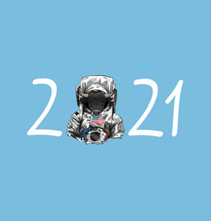 Bull in astronaut suit 2021 year hand drawn art vector