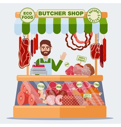 Butcher Shop Meat Seller Meat Products vector image