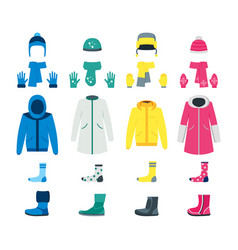 cartoon color winter clothes icon set vector image