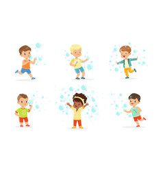 Children play with soap bubbles vector