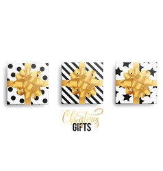 christmas gifts realistic gift packages with gold vector image