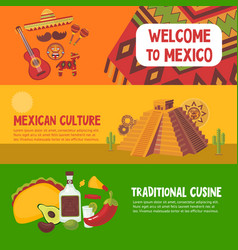 colorful mexico horizontal banners vector image