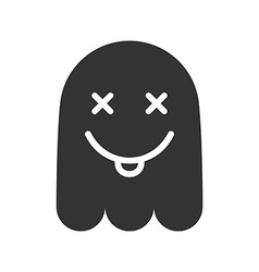 Crazy emoticon Icon of mad ghost smile with tongue vector