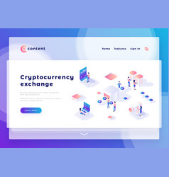 Cryptocurrency exchange office people and interact vector