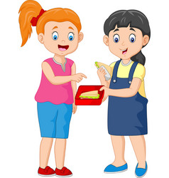 cute girl sharing sandwich with a friend vector image