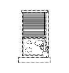 dotted shape window with curtain blind open and vector image