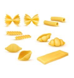 Dry macaroni various kinds pasta set vector