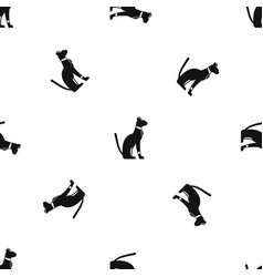 Egyptian cat pattern seamless black vector