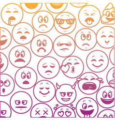 Emoticons pattern background rainbow lines vector
