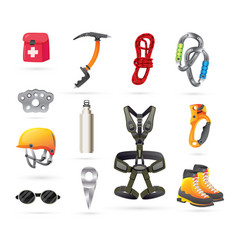 Equipment for mountaineering and hiking icons set vector