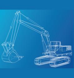 Excavator wire-frame eps10 format vector