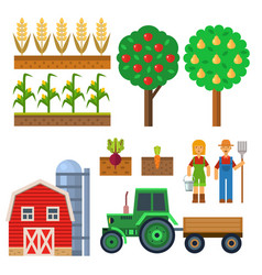 Farm harvesting equipment for agriculture vector