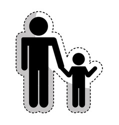 Father figure with son silhouette isolated icon vector